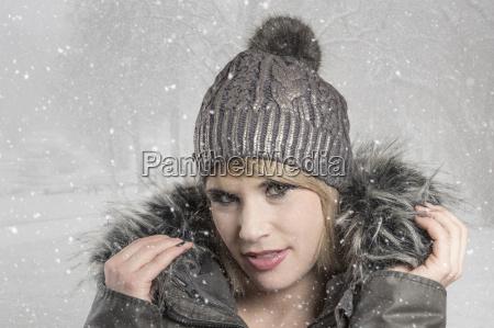 portrait, with, woolen, cap - 15785442