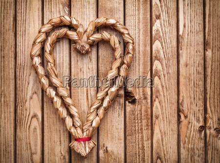 handmade, heart, on, wooden, background - 15787734