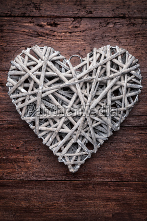 large, heart, on, a, wooden, background - 15787776