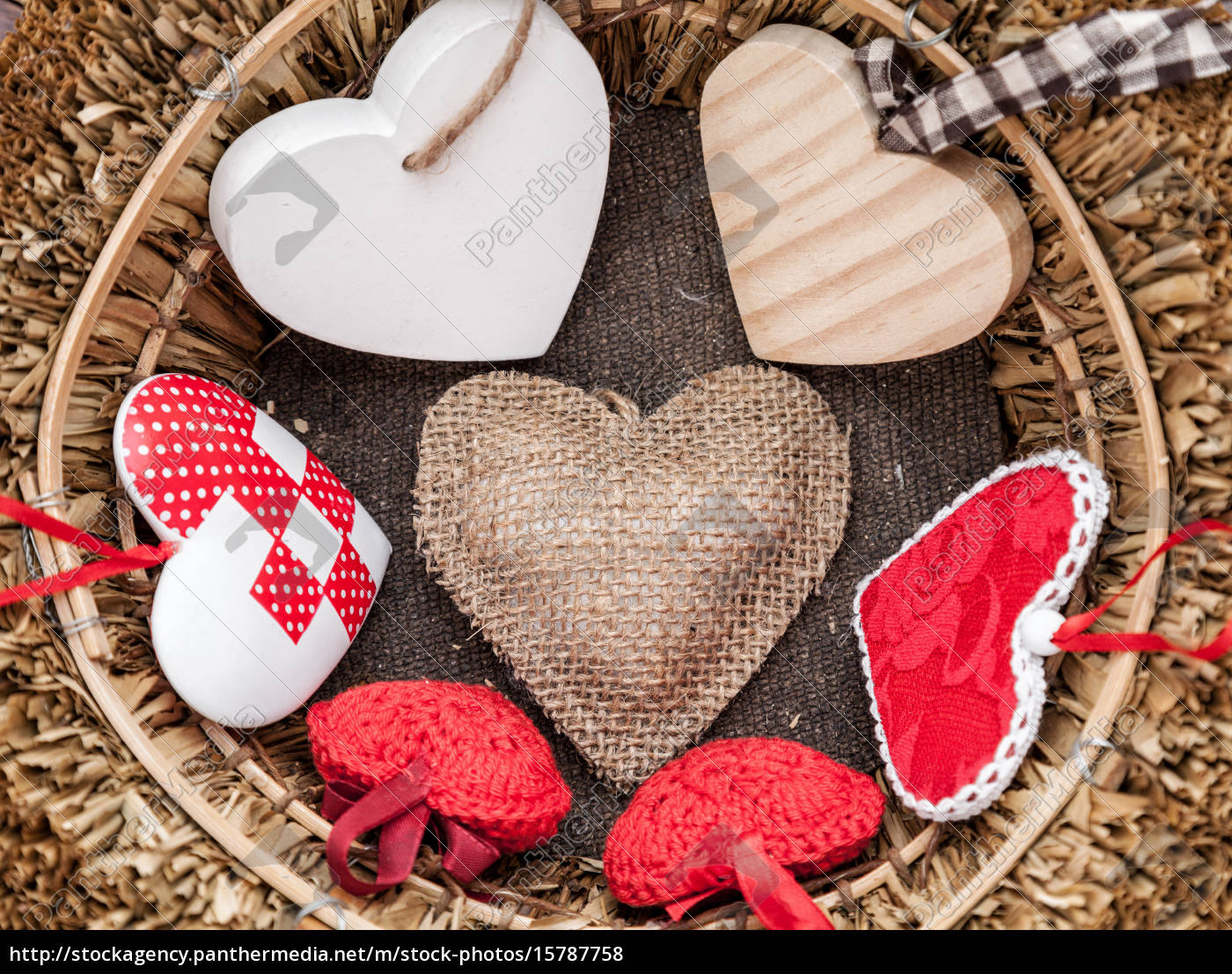many, hearts, inside, a, wooden, basket - 15787758