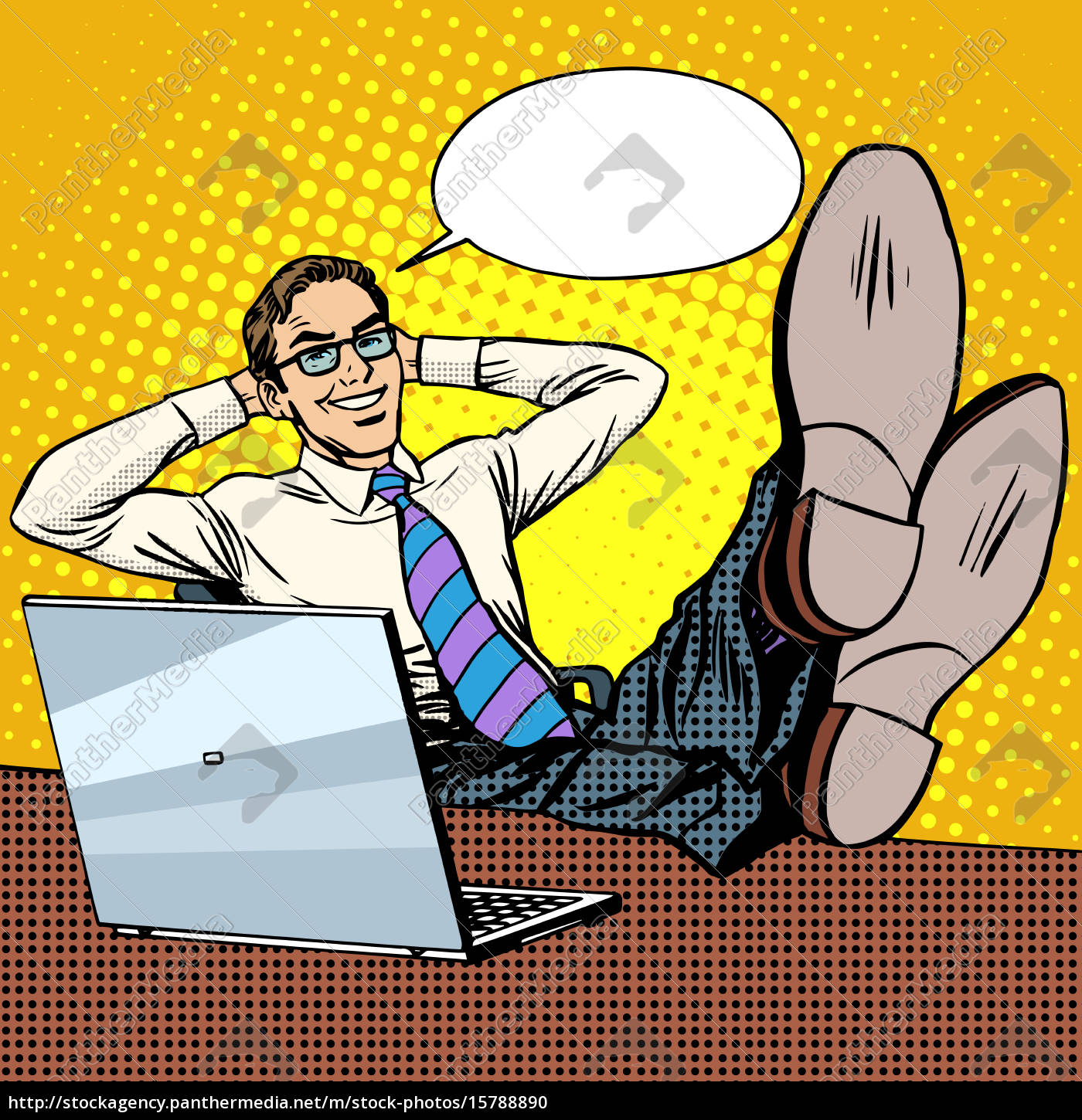 happy, relax, businessman, at, work, place - 15788890