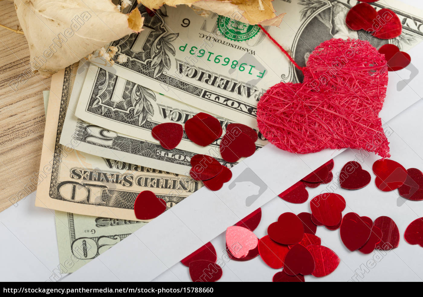 valentine, concept, with, hearts, , dry, roses - 15788660