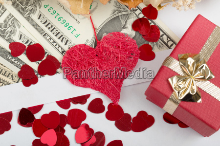 valentine, concept, with, hearts, , dry, roses - 15788668