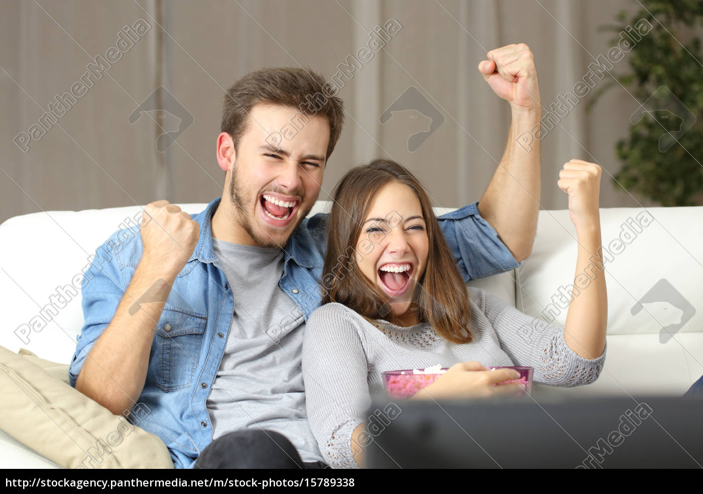 euphoric, couple, watching, tv, at, home - 15789338