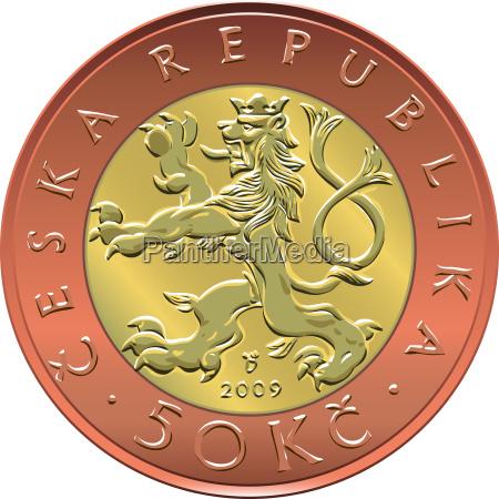 vector gold money fifty czech crones