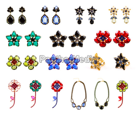 collection of crystal jewelry earrings rings
