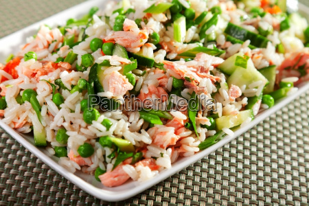 rice, salad, with, salmon - 15791409