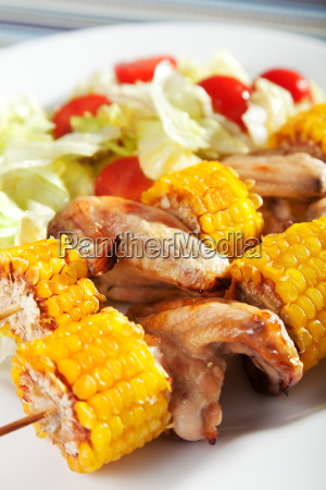 chicken, wings, with, corn, skewers, chicken, wings - 15793059