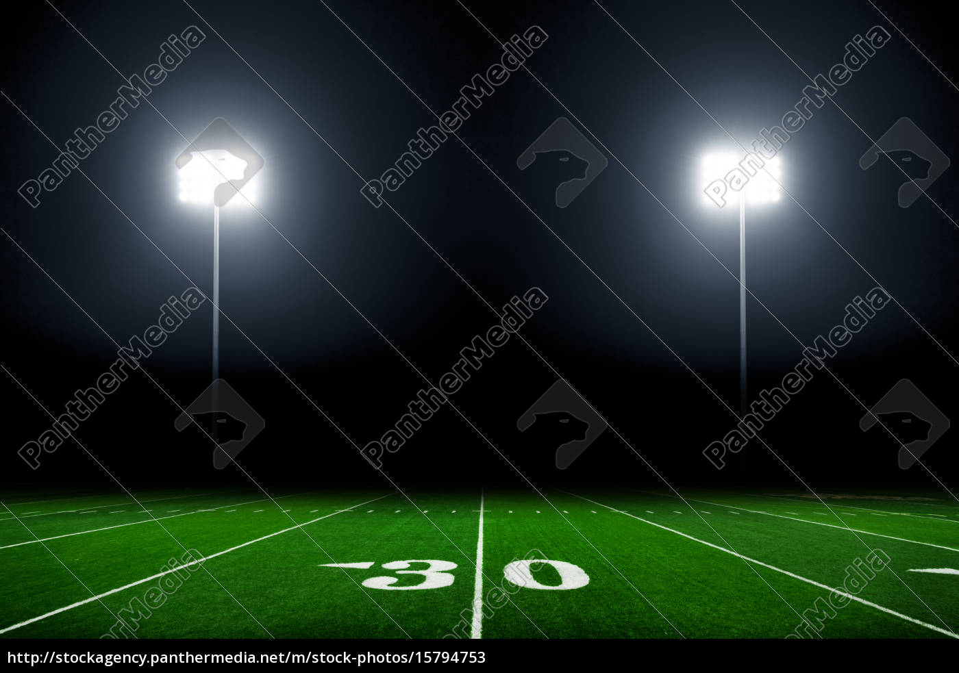 football, field, illuminated, by, stadium, lights - 15794753