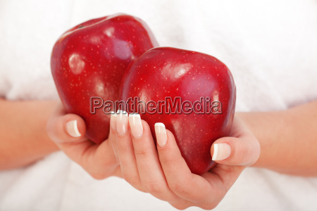 young, woman, holding, red, apples, young, woman - 15794901