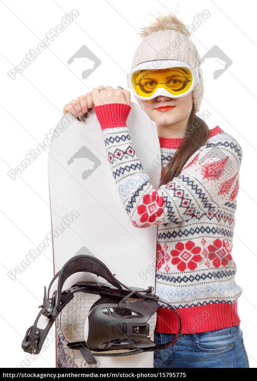 beautiful, woman, with, a, snowboard, in - 15795775