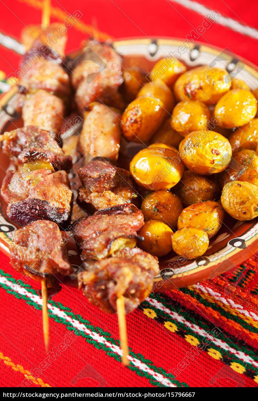 pork, skewer, with, potatos, pork, skewer, with - 15796667