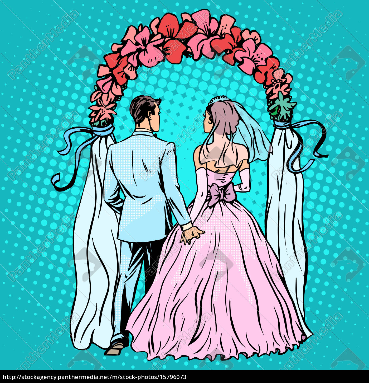 wedding, groom, bride, altar - 15796073