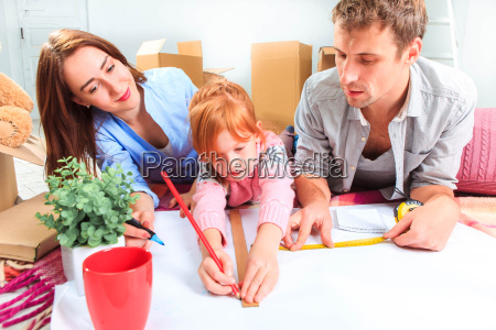 the happy family during repair