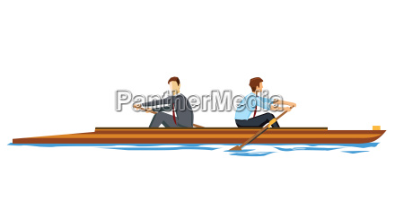 business people rowing in the opposite