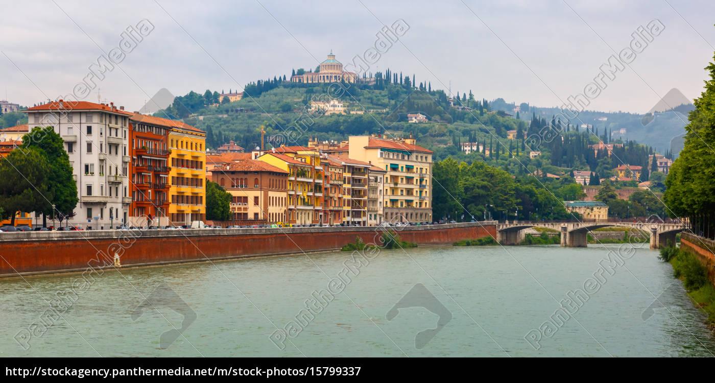 adige, river, embankment, in, verona, , italy - 15799337