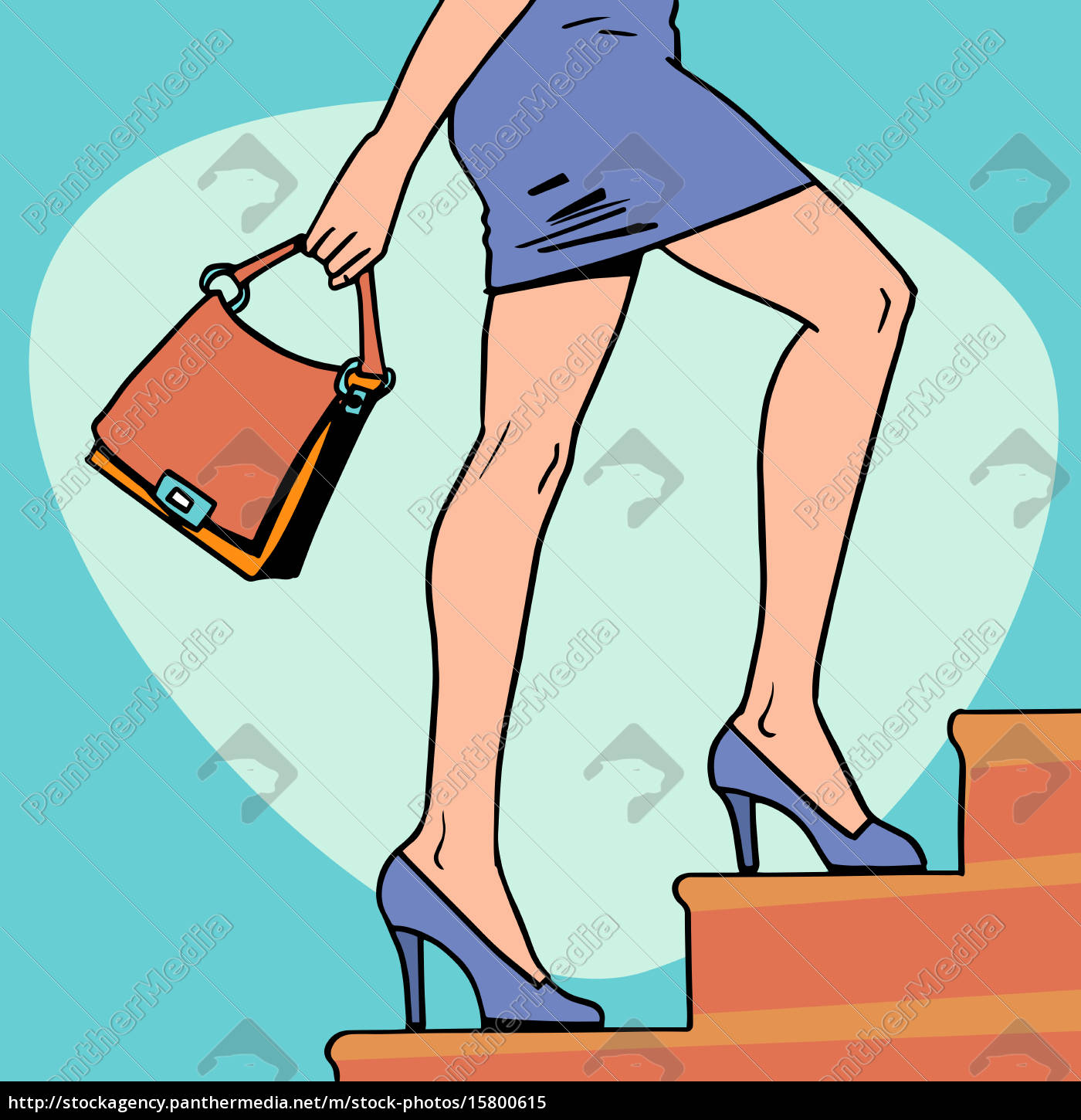 beautiful, girl, goes, up, the, stairs - 15800615