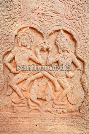 apsara, carving, , angkor, wat, , cambodia, apsara, carving, - 15801463