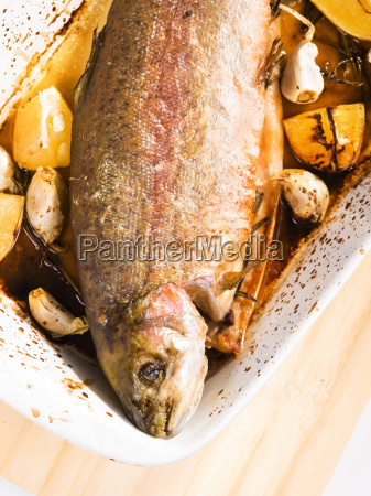 baked, trout, with, garlic, baked, trout, with - 15801403