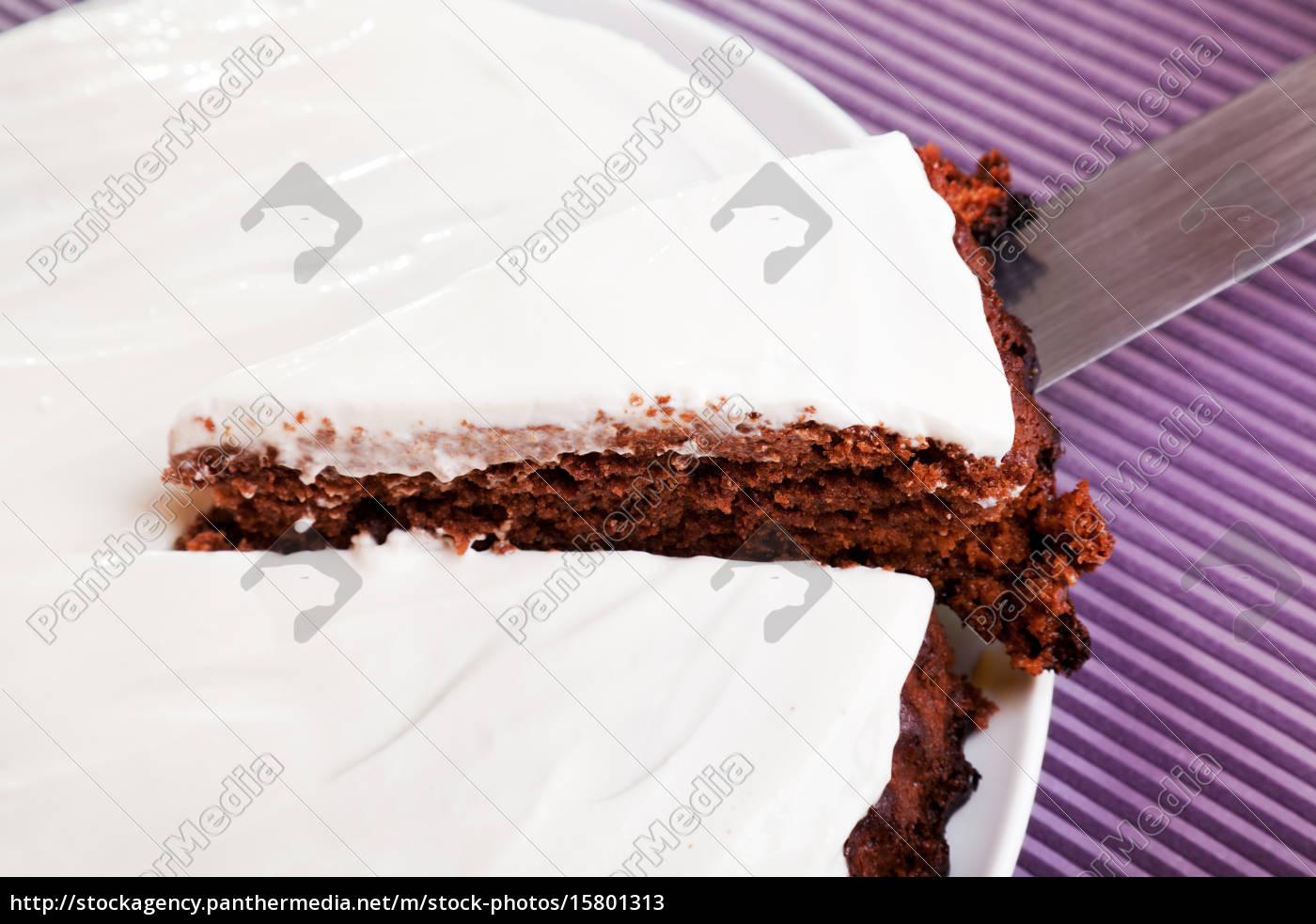 chocolate, cake, with, white, cream - 15801313