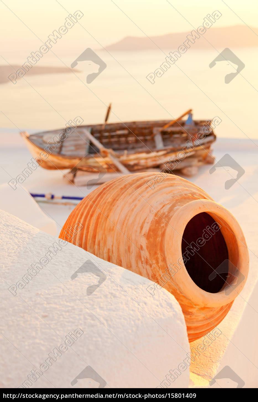 old, boat, in, firostefani, , santorini, old, boat - 15801409