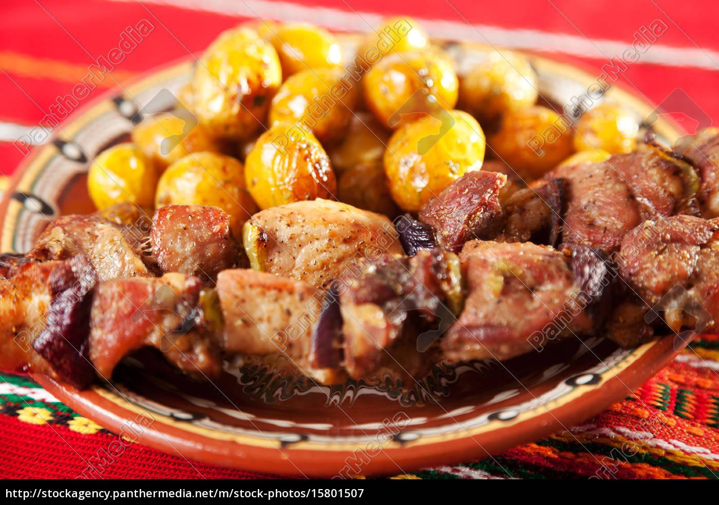 pork, skewer, with, potatos, pork, skewer, with - 15801507