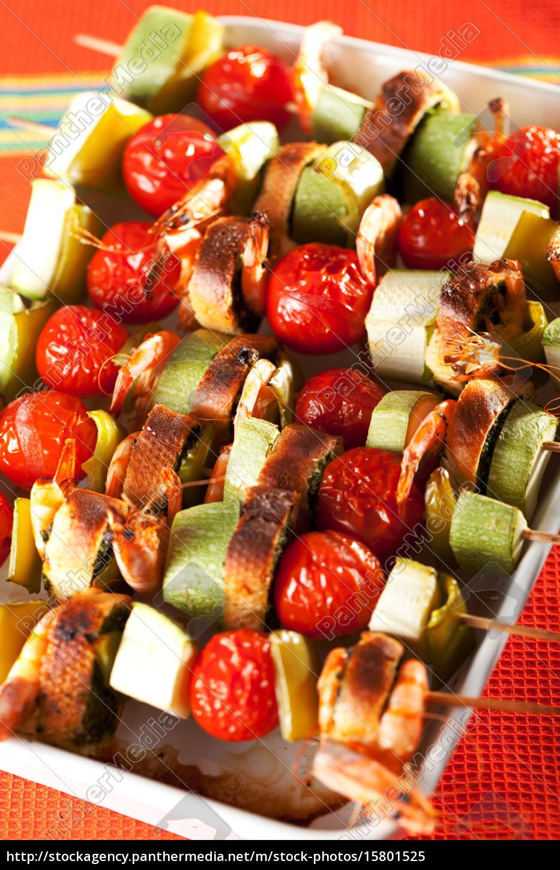 shrimps, and, vegetables, skewers, shrimps, and, vegetables - 15801525