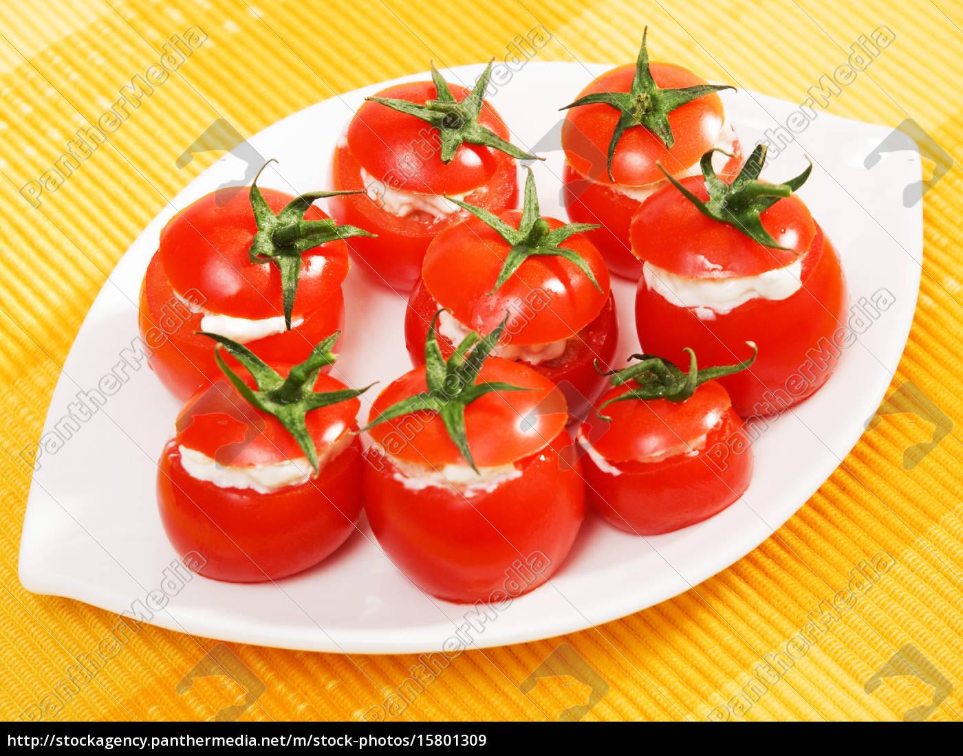 stuffed, cherry, tomatoes, with, cheese, cream - 15801309