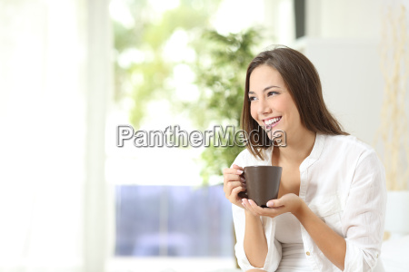 woman, drinking, coffee, or, tea, at - 15801189