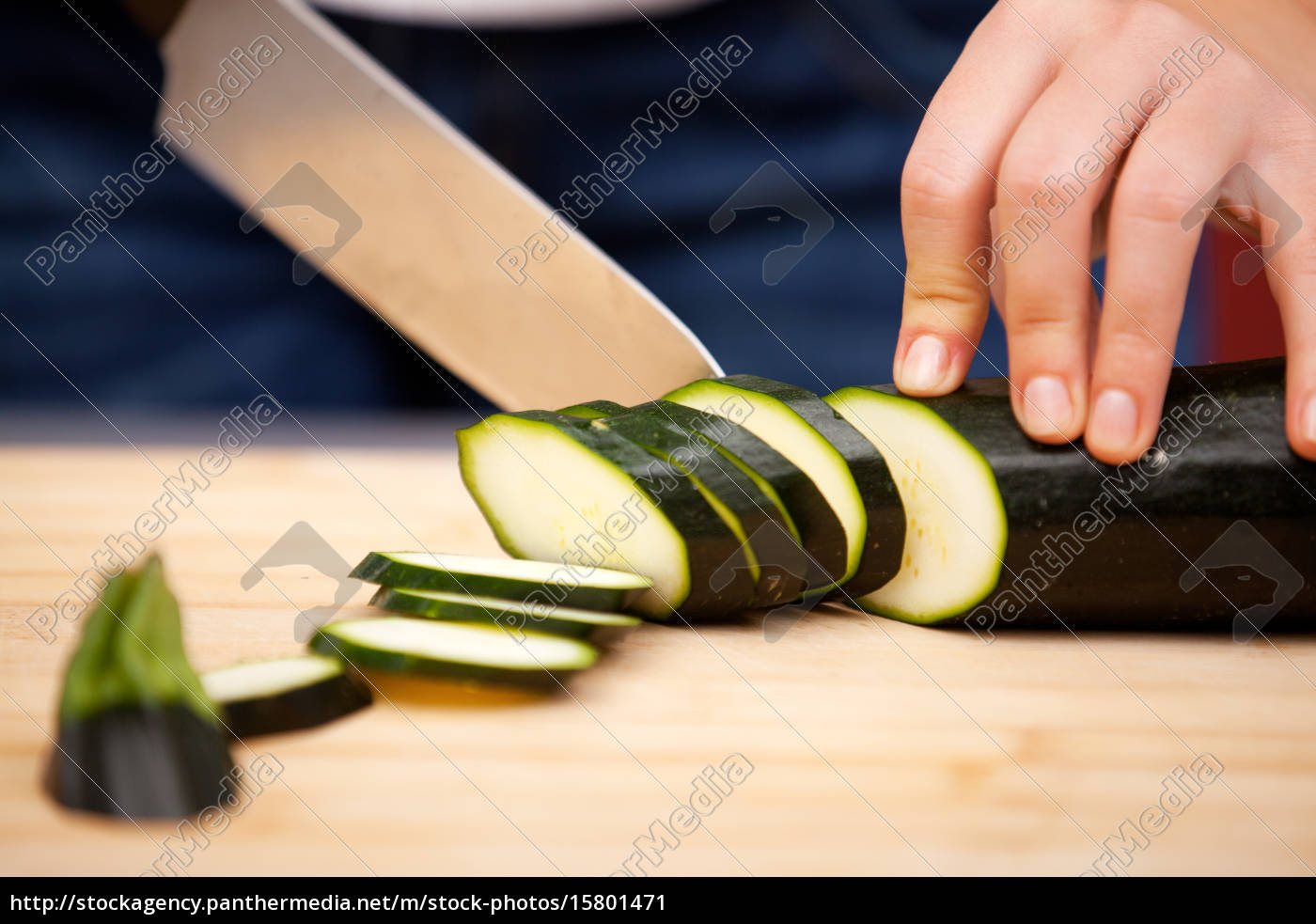 young, woman, cutting, zucchini, young, woman, cutting - 15801471
