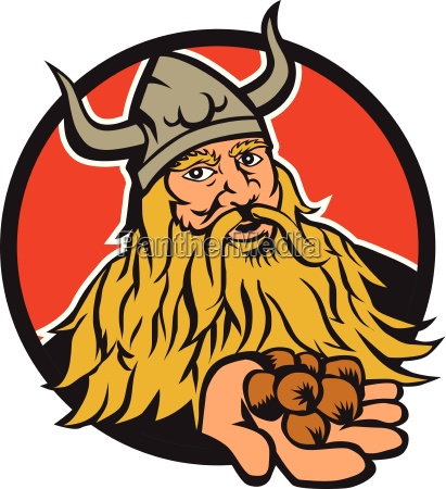 viking handing hazelnut circle retro