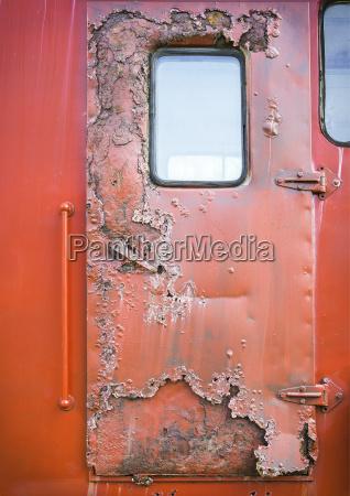 old red car door