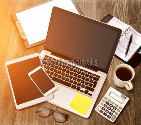 wood businessmans desk in high definition