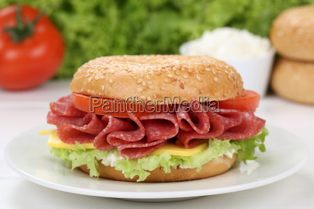 bagel sandwiches for breakfast topped with