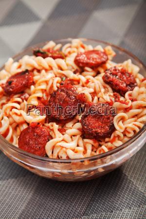 fusilli with sausage tomato sauce and