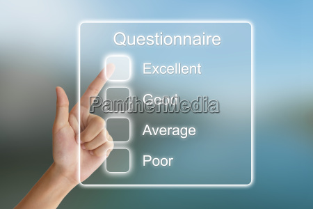 hand pushing questionnaire on virtual screen