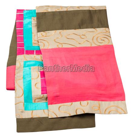 handmade patchwork silk scarf isolated on