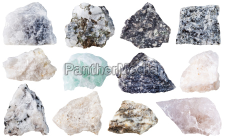 set of 12 mineral stones isolated