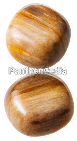 two tigers eye gemstones isolated on