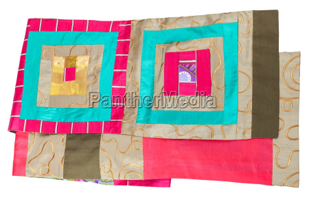 handmade patchwork silk scarf with square