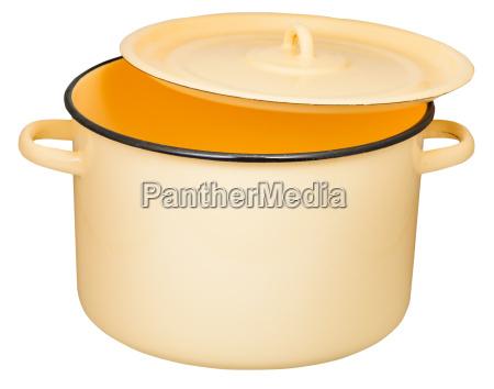 classic enamel stockpot with slightly ajar