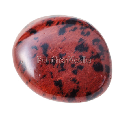 mahogany obsidian gemstone pebble isolated