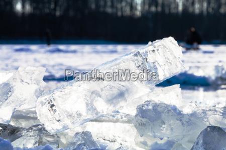 ice blocks illuminated by sun on