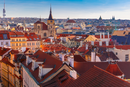 aerial view over old town in