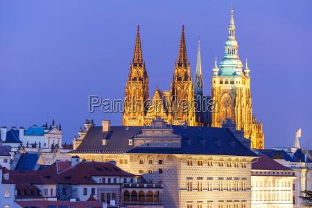 gold prague castle at night czech