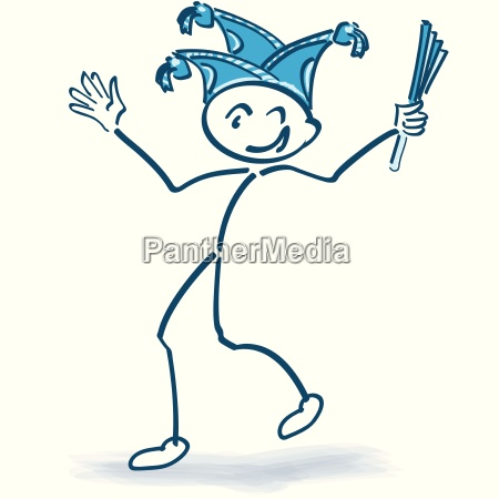 celebrate stick figure with carnival cap