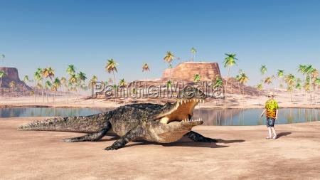 sarcosuchus and tourist