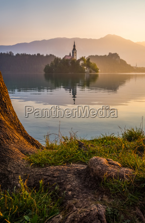 island with church in bled lake