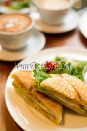 breakfast with coffee and panini