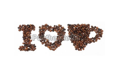 roasted coffee beans in shape of